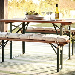 Tavern Rectangular Fixed Folding Dining Table And Bench Set - These appear similar to the Oktoberfest tables and benches. They are easy to fold up and store.