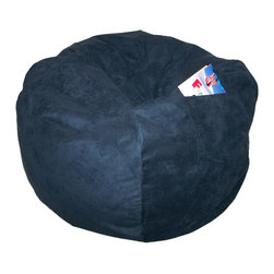 """Fun Furnishings - Fun Furnishings Suede-Large Bean Bag-Personalized in Navy - What a great place to plop down and relax. Each bag come with a handy pocket to store the clicker or any other prized possession. The outer cover is removable for cleaning. The inner liner bag securely contains new fire retardant �beads"""" and is refillable too. Cleaning the cover. We use only fine upholstery-grade fabrics that can take lots of use from kids. Our micro Suede's, denims and chenille's are all washable."""