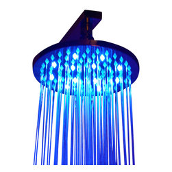 ALFI brand - ALFI brand LED5002 8'' Round Chrome LED Rain Bathroom Shower Head - Turn on the fun in your shower just by turning on the water, the LED lights will automatically light up and set the mood. They will even change colors automatically based on the water temperature. All this with no batteries, everything is self-powered by a built in dynamo that takes advantage of the water pressure to create the energy to light the bulbs.