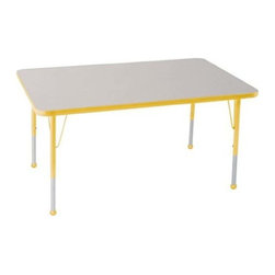 """Ecr4kids - Ecr4Kids Kids Adjustable Activity Table - Rectangular 30"""" X 48"""" Glide Yellow - Table tops feature stain-resistant and easy to clean laminate on both sides. Adjustable legs available in 3 different size ranges: Standard (19""""-30""""), Toddler (15""""-23""""), Chunky (15""""-24""""). Specify edge banding and leg color. Specify leg type."""