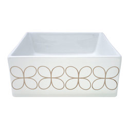 Decorated Porcelain Company - Cloverleaf Hand Painted Vessel Sink, Platinum - Slightly retro mid-century modern style cloverleaf motif in metallic platinum fits into any style bathroom decor on a white square vessel sink. All of our fixtures are hand-made to order in the USA and kiln-fired for long-lasting durability.