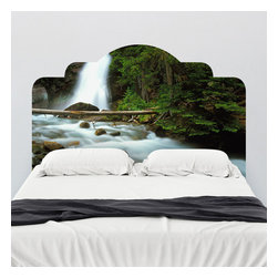 J. Paul Moore - Paul Moore's Waterfall in Glacier National Park Headboard Wall Decal - Don't worry about falling asleep with adhesive headboard wall decal, as the babbling brook will lull you to sleep each evening. Can't you hear it?