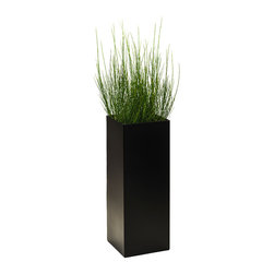 Modern Planter - Modern Tower Planter, Charcoal Black, Extra Large - Urban green space: this cosmopolitan tower planter allows you to grow a tiny but lush landscape on a high-rise aluminum stand. No matter what finish you choose, the end result is a simple, sophisticated and stunning addition to your environment.