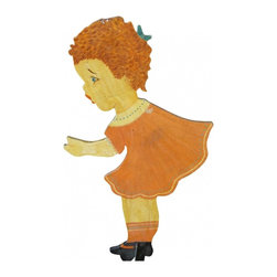 Wood Garden Girl - Rustic vintage garden sign, handmade and hand painted on both sides in bright fall colors. She is attached to a metal post for securing into the ground.