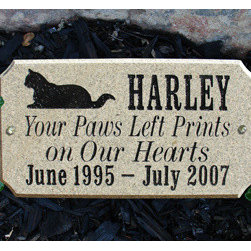 Qualarc, Inc. - Executive (Cut Corner Rectangle) Solid Granite Pet Plaque CAT - Executive (Cut Corner Rectangle) Solid Granite Pet Plaque CAT