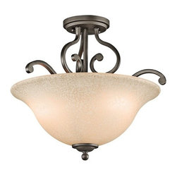 Kichler - Kichler 43232OZ Camerena 3 Light Semi-Flush Indoor Ceiling Fixture - With its gorgeous bowl-shaped glass uplight and gently curled metal accents, the distinct Camerena�� collection illuminates any room with enduring warmth and comfort. This 3 light semi flush ceiling mount features an Olde Bronze finish and White Scavo glass with Light Umber inside tint or Brushed Nickel finish and White Scavo glassto convey a distinct old world aura in any space.Product Features: