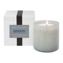 Spike Lavender / Media Room Candle - The clean-burning natural soy wax within the Spike Lavender Candle's frosty art glass cup teases forth the bold, nearly spicy elements that lie within the herbal intrigue of natural Mediterranean lavender scent.� The result is a perfect mix of the soothing with the invigorating, a scent that leaves you relaxed and balanced, but attuned to your surroundings and open to entertainment.