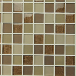 """Rocky Point Tile - Bahia Cocoa 1.25 x 1.25 Square Glass Mosaic Tiles, 10 Square Feet - A beautiful mix of matte and high gloss 1.25"""" x 1.25"""" glass squares on a 12"""" x 12"""" mesh backing. Colors include cocoa browns, golden browns, and taupe. The cocoa brown squares have a beautiful textured backing that gives these tiles a unique feeling to spice up your new kitchen backsplash or bathroom."""