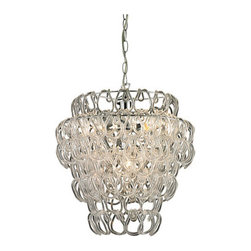 Sterling Industries - Sterling Industries 144-007 Torvean 3 Light Pendants in Clear And Chrome - Torvean (Large)-3 Light Clear Hooked Ring Pendant