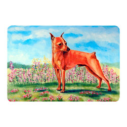 Caroline's Treasures - Min Pin Kitchen Or Bath Mat 24X36 - Kitchen or Bath COMFORT FLOOR MAT This mat is 24 inch by 36 inch.  Comfort Mat / Carpet / Rug that is Made and Printed in the USA. A foam cushion is attached to the bottom of the mat for comfort when standing. The mat has been permenantly dyed for moderate traffic. Durable and fade resistant. The back of the mat is rubber backed to keep the mat from slipping on a smooth floor. Use pressure and water from garden hose or power washer to clean the mat.  Vacuuming only with the hard wood floor setting, as to not pull up the knap of the felt.   Avoid soap or cleaner that produces suds when cleaning.  It will be difficult to get the suds out of the mat.