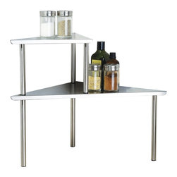 Cook N Home - Cook N Home 2-Tier Corner Storage Shelf, Stainless Steel - What's in Box: Stainless steel Corner Shelf 2 Tier, Stainless Steel Construction, easy assembly, no tools required, you can do it your self in just few minutes, very easy to clean; thanks to it's brushed stainless steel surface, Stackable design 2 tier shelf save storage space.