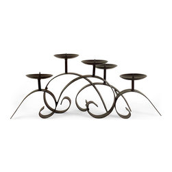 IMAX Worldwide Home - Impressive Centerpiece Candleholder - Contemporary style. Pillar candle holder. Holds 3-in pillar. Made from 100% wrought iron. 25 in. W x 9 in. D x 11.25 in. H (7.4 lbs.)