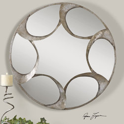 Uttermost - Vento Hand Forged Metal Round Mirror - A touch of ornamentation in Vento Hand Forged Metal Round Mirror creates a pleasing piece for embellishing. The frame is made of hand forged metal and finished with a lightly antiqued silver leaf with burnished accents. Designer: Grace Feyock.