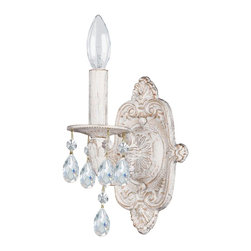 Crystorama - Crystorama Sutton Wall Sconce in Antique White - Shown in picture: Clear Hand Cut Crystal Chandelier; Sutton Collection's Antique White finish has a distressed gold brush strokes. This Paris Flea look is timeless and whimsical.