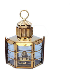 "Handcrafted Model Ships - Solid Brass Clipper Oil Lamp 15"" - Beach Decoration - This Solid Brass Clipper Oil Lamp 15"" is an authentic marine ship lamp. Handcrafted from solid brass to create a realistic clipper lamp as used in the 19th century to assist with lighting dim or dark areas. This hexagonal ship lantern is true to the original design of period lamps. Our boat lantern is fully functional and simply needs oil to omit light."