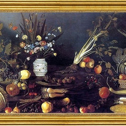 """Master of Hartford Still-life-16""""x24"""" Framed Canvas - 16"""" x 24"""" Master of Hartford Still-life Flowers, Fruit, Vegetables and Two Lizards framed premium canvas print reproduced to meet museum quality standards. Our museum quality canvas prints are produced using high-precision print technology for a more accurate reproduction printed on high quality canvas with fade-resistant, archival inks. Our progressive business model allows us to offer works of art to you at the best wholesale pricing, significantly less than art gallery prices, affordable to all. This artwork is hand stretched onto wooden stretcher bars, then mounted into our 3"""" wide gold finish frame with black panel by one of our expert framers. Our framed canvas print comes with hardware, ready to hang on your wall.  We present a comprehensive collection of exceptional canvas art reproductions by Master of Hartford Still-life."""