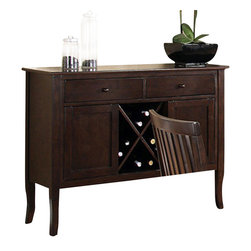 "Steve Silver Furniture - Steve Silver Candice Server with Wine Storage in Dark Espresso - The Candice collection offers country-style simplicity, transforming any dining area into a charming sanctuary. The Candice dark espresso server has two spacious drawers for storing linens and tableware, two cabinets, wine storage, and a 48""L x 17""D serving surface. This is the perfect-Piece to complete the Candice counter height dining set."
