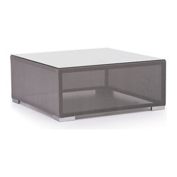 Zuo Modern - Zuo Modern Clear Water Bay Outdoor Table X-380307 - Versatile and durable, the Clear Water Outdoor series will transform any outdoor setting. The frame is aluminum with a textile weave outer covering. Glass top is 10mm and is tempered for durability.