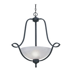 Designers Fountain - Designers Fountain Mirande Traditional Inverted Pendant Light X-IN-3285 - The Faux Alabaster glass shade is almost floating in the dramatic designed black iron frame. This Traditional Inverted Light stands out with its combination of rustic style and Earthly finish. Ideal for your traditional decor, this pendant is ready to add style to your home.
