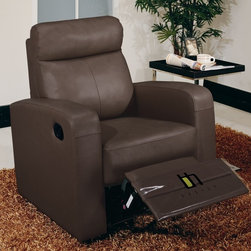 Beverly Hills Furniture - Slope Leather Recliner Chair (Brown) - Color: BrownButtery soft top grain leather . Single Leggett and Platt recliner on chair. Kiln dried solid wood frame construction for durability. Reinforced corner blocks for added strength. Interwoven webbed base with sinuous spring suspension. Pocket coil core with high density foam seating. Polyester fiber back rest for added comfort. Contemporary design without compromising comfort. 35 in. W x 34 in. L x 37 in. HWrapped in soft leather and filled with high density foam, the Slope reclining chair offers contemporary lines without sacrificing comfort.  Its frame is built with kiln-dried solid wood and reinforced with corner blocks to ensure years of comfortable seating.  The recliners offer multi-stage positions for personalized comfort.