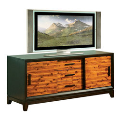 Steve Silver Furniture - Steve Silver Abaco TV Stand - Let the Abaco cocktail table take center stage at your next gathering. This TV cabinet features three drawers and two sliding doors for storage and is offered in a two toned multi-step acacia finish.