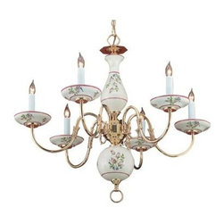 Crystorama - Single Tier Chandelier - The traditional Italian Hand Painted Ceramic Rose floral Chandelier accents this Polished Brass chandelier with grace and elegance.