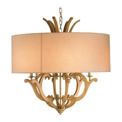 Kathy Kuo Home - Briand French Country Style Linen Shade Wood 6 Light Pendant - Whimsical washed wood is balanced with luxurious natural linen for a French country feel in our fabulous pendant-style chandelier. Six candelabra bulbs bring a warm welcoming glow to the grand centerpiece.