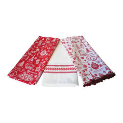 Rouge Parisian Pattern Towels - Set of 3 - Parisian sophistication meets a bit of provincial charm on these cheerfully printed towels. Rotate them through your kitchen to always enjoy a functional bit of bistro inspiration.