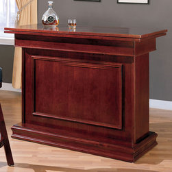 "Coaster - 3-In-1 Bar Unit - Cherry - All in one bar unit with three different game table settings in cherry or oak. Wine shelves and glass holders included. Matching bar stool with cushion seat available.; Dimensions: 53.25""L x 24.25""W x 40.50""H"