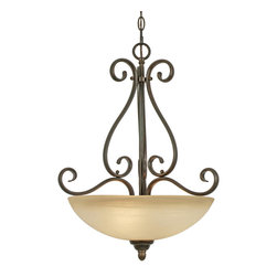 Golden Lighting - Riverton PC Pendant Bowl - Have a little Old World charm with your morning cereal! This dramatic metal and glass pendant light sets the tone for rustic dining, ideal for a breakfast nook or above the kitchen island.