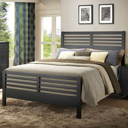 Coaster - Richmond Queen Bed - A fierce black finish engulfs the slatted headboard/footboard design of the Richmond collection. The bed can also be used with the chests and back panels for a pier bed look. Silver toned accent hardware and practical storage solutions make a fashionable array of functional furniture.