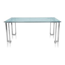 Limek Table - The Limek Dining Room Table has modern sophistication crafted in every gleaming bend. This modern table is created with a clear tempered glass table top that rests upon four intricate steel legs. The clean lines on the Limek Table suggest a minimalist theme without being overt in nature.