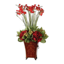 Constance Lael-Linyard - Constance Lael-Linyard Red Freesia In English Tole Planter X-99006 - Tall red freesia encircled by crimson hydrangea, golden rice flower and rich green salal foliage arranged in a classically styled metal tole planter featuring exclusive artwork, cast feet and gilded accents.