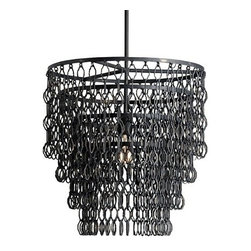 Currey & Company Fenwick Pendant Light - Currey & Company Fenwick Pendant LightMetal plays a big role in the industrial style and the Currey & Company design team has embraced this concept with the Currey Industrial Collection. The Fenwick Pendant is a great example of this Industrial look. The hand finishing process used on this chandelier lends an air of depth and richness not achieved by less time-consuming methods.Material: Wrought Iron