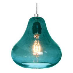 Kiss Pendant Lamp in Aqua Turquoise Glass By Luxello LED - Kiss Pendant by Luxello is a modern crystal glass aqua turquoise glass suspension lamp. The hand blown crystal pear shaped glass diffuser are hand blown in El Segundo, California.  Aqua marine surrounds the black light bulb socket. The E26 socket takes various light bulbs from vintage to a PAR or LED spot.  Custom colors are available upon request.