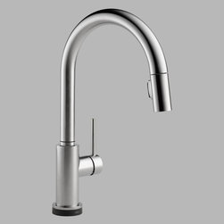 Delta - Delta Trinsic 9159T-DST Single Handle Pull Down Kitchen Faucet with Touch2O Tech - Shop for Kitchen from Hayneedle.com! Simple yet inspired the Delta Trinsic 9159T-DST Single Handle Pull Down Kitchen Faucet with Touch2O Technology has the modern styling to put a new face on your kitchen. This faucet operates smoothly to your delight and can last and last against corrosion from solid brass.About Delta FaucetPairing inspirational design with innovations that anticipate people's needs Delta produces kitchen faucets bathroom faucets and shower systems that are as beautiful as they are functional. Delta puts all of their products through a strict regimen of durability testing. Delta Faucet is committed to green manufacturing processes and helping people to be smarter and more environmentally responsible in how they use water. All of these things add up to show how Delta is more than just a faucet.
