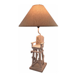 Zeckos - Whitewashed Beach Lifeguard Chair Table Lamp with Linen Shade 28 In. - This table lamp is the perfect accent to rooms with beach themed decor. It features a whitewashed lifeguard chair with a rope net accent, complete with seashells. The lamp measures 28 inches tall with a 6 1/4 inch by 7 inch base, and has a 16 1/2 inch diameter linen shade. It has a 5 foot long black power cord with a thumb wheel on/off switch, and uses up to 40 watt (max) type 'A' bulbs (not included). The lamp is hand painted, has a wonderful distressed finish, and is sure to be admired by beach lovers.