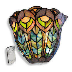 Zeckos - Peacock Stained Glass Half Moon LED Wall Sconce Timer/Remote - Add beautiful accent lighting to your home or office with this peacock feather stained glass wall sconce, containing over 120 pieces of hand cut art glass. It measures 11 1/2 inches wide, 8 inches high, and 5 3/4 inches deep. The fixture easily mounts to any wall with a single screw and is powered by either 3 D batteries (not included) or the included power adapter with a white 10 foot long cord, no electrical work required. Nine bright white, long lasting LED bulbs are controlled by a remote that gives you options to dim, to set a 3 or 6 hour timer, or to turn on/off. This wall sconce is perfect for apartments as well as houses and this light may also be used outdoors under a covered area with a weatherproof Class A GFCI receptacle. It makes a lovely gift that is sure to be admired. NOTE: Mounting hardware and a CR2025 battery for the remote are included.