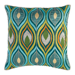 Company C Pillow Deco Peacock - For a hint of elegance and the exotic, consider this pillow as an accent to your child' bedroom. The sheen of the fabric helps showcase the cool Mediterranean colors that will look great in any space.