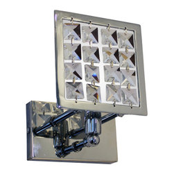 Lightupmyhome - Square Chrome Crystal Wall Sconce Light Fixture, Chrome Finish - This gorgeous square wall sconce will prove to update any home decor.  With a crystal shade and a striking chrome finish this wall fixture will light up your home.