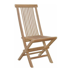 Anderson Outdoor Furniture - Bristol 2 Folding Chairs - Greet your guests in style with these solid-teak side chairs, perfect for a garden party or poolside soiree. And they fold up for easy storage in case you need to make space for an impromptu game of volleyball.