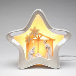 ATD - 7 3/8 Inch White Star Shaped Night Light with Nativity Scene Center - This gorgeous 7 3/8 Inch White Star Shaped Night Light with Nativity Scene Center has the finest details and highest quality you will find anywhere! 7 3/8 Inch White Star Shaped Night Light with Nativity Scene Center is truly remarkable.