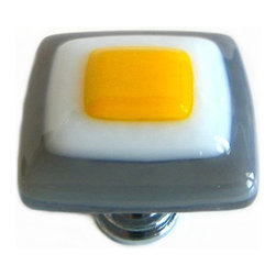 Gray and yellow fused glass knob by Uneek Glass Fusions - Fun gray, white, and yellow gold art glass cabinet knob by Uneek Glass Fusions. Custom sizes and