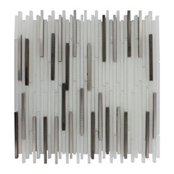 "Breeze Stylus Steel Ice Pattern Glass & Metal Tile - Breeze Stylus Steel Ice Pattern 1/8"" x Random Glass Tiles Whether using this stunning tile as a back splash, wall or as an accent piece, the stainless steel silver and super white glass will give your room a classic to contemporary setting. Add a small touch of ""wow"" to any room. Chip Size: 1/8"" x Random Color: Stainless Steel Silver and Super White Material: Glass and Metal Finish: Polished, Frosted and Brushed Sold by the Sheet - each sheet measures 11""x13"" (0.99 sq. ft.) Thickness: 8mm Please note each lot will vary from the next."