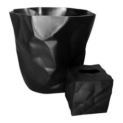 Essey of Denmark - Essey Bin Bin Waste Basket and Wipy Tissue Box Holder - Black - This black bathroom set includes the Essey Bin Bin Wastebasket plus the Wipy cube tissue holder. Bin Bin has been designed to look like the crumpled paper that it is intended to hold. Wipy has a similar crumpled paper look. Bin Bin measures about 13 inches high and 13 inches across the top. Wipy is 5 x 5 x 5 inches. Bin Bin is made of hard polyethylene in Germany. Wipy is made of thermoplastic elastomer in Finland. Available in white, red, or black. Free domestic shipping.