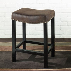 "Armen Living - Tudor Wrangler Backless Barstool in Brown - The Tudor fabric backless barstool is in a rich looking saddle brown fabric with a brushed leather look and nailhead accents. Armen Living is the quintessential modern-day furniture designer and manufacturer. With flexibility and speed to market, Armen Living exceeds the customer's expectations at every level of interaction. Armen Living not only delivers sensational products of exceptional quality, but also offers extraordinarily powerful reliability and capability only limited by the imagination. Our client relationships are fully supported and sustained by a stellar name, legendary history, and enduring reputation. The groundbreaking new Armen Living line represents a refreshingly innovative creative collaboration with top designers in the home furnishings industry. The result is a uniquely modern collection gorgeously enhanced by sophisticated retro aesthetics. Armen Living celebrates bold individuality, vibrant youthfulness, sensual refinement, and expert craftsmanship at fiscally sensible price points. Each piece conveys pleasure and exudes self expression while resonating with the contemporary chic lifestyle. Features: -Available in 26"" or 30"" H sizes. -Brown colored wrangler fabric with nailhead accents. -Backless and stationary. -Comes with standard 1 year limited warranty. -Overall dimensions: 26-30"" H x 15"" W x 20"" D."
