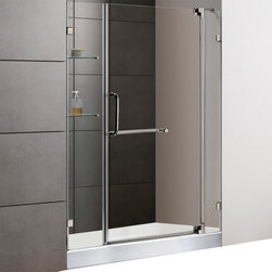 Vigo - 48in.  Frameless Shower Door 3/8in.  Clear Glass Brushed Nickel Hardware with Wh - Experience fine quality combined with superior design in a VIGO frameless shower door with matching 48in.  x 32in.  shower base.