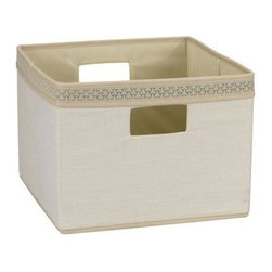 Household Essentials - Decorative Trim Open Storage Bin - Ivory - Our Decorative storage bins are sturdy with soft sides that live up any household or office. Their fashionable trim, and dual handles make these lightweight bins quick, easy, and fun to use.