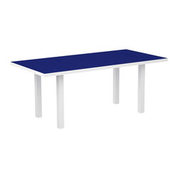 PolyWood - Euro Long Dining Table by Polywood, White/Pacific Blue - Better throw a few more burgers on the grill because friends and family won��t say no to a delicious outdoor meal when it��s served at the spacious, yet stylish Polywood�� Euro 36�� x 72�� Dining Table. Made in the USA and backed by a 20-year warranty, this durable table is constructed of a sturdy aluminum frame and eco-friendly, fade-resistant POLYWOOD recycled lumber slats that look like painted wood. The resemblance ends there, though because unlike real wood, this table won��t splinter, crack, chip, peel or rot and it never needs to be painted, stained or waterproofed. This attractive table is also easy to clean and even easier to maintain over the years as it resists nature��s elements, stains, corrosive substances, insects, fungi, salt spray and other environmental stresses.