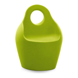 DomItalia Furniture - Baba JR Plastic Outdoor Chair in Green - The ancient Greek amphora gets a modern echo in this Baba JR Plastic Outdoor Chair in Green for indoor and outdoor use. The molded seat provides maximum comfort, while the clever carrying handle makes the seat easy to move. Your space will never look the same with this incredible plastic chair.